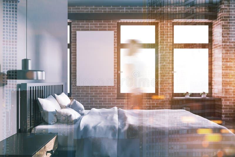 灰色和砖卧室,侧视图,被定调子的海报 库存例证