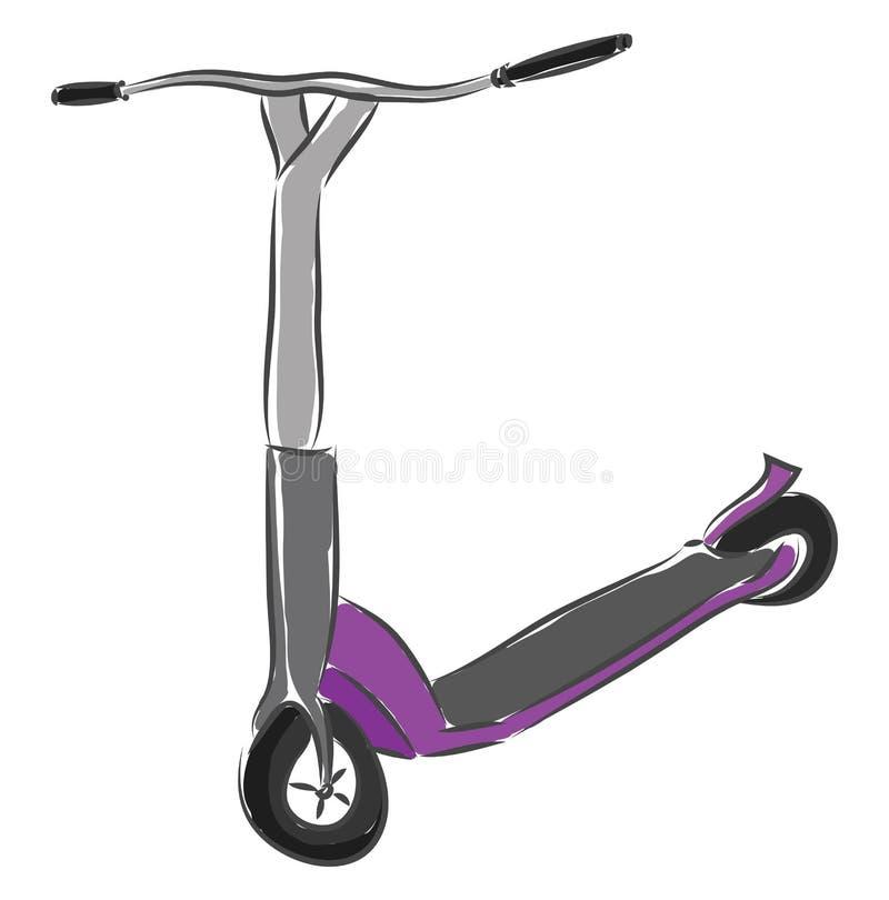 灰色和紫色踏板车矢量图插图 向量例证