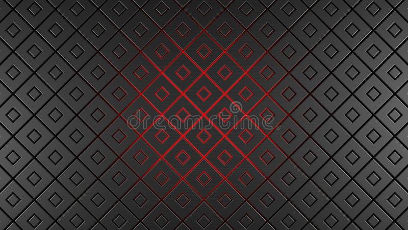 灰色和红色金属正方形现代背景3d回报例证 向量例证