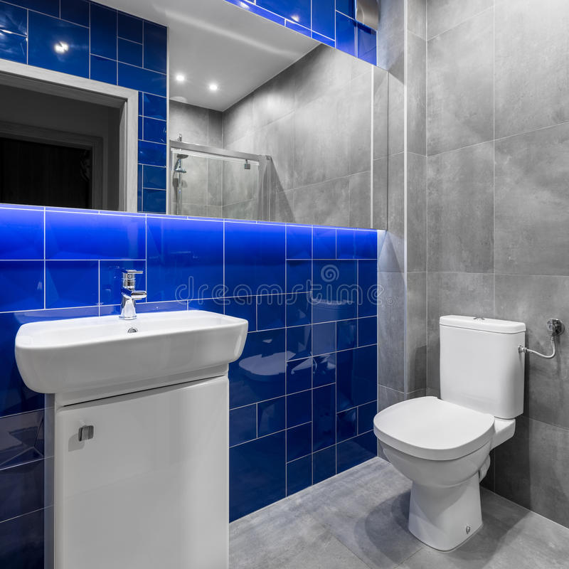 灰色和蓝色的卫生间 免版税库存照片
