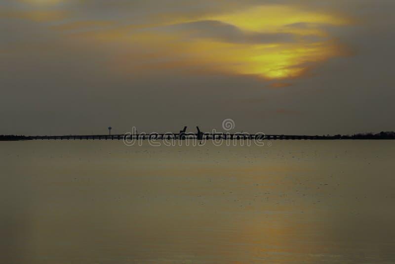 灰色和金子日落在水与开放桥梁在距离 免版税图库摄影