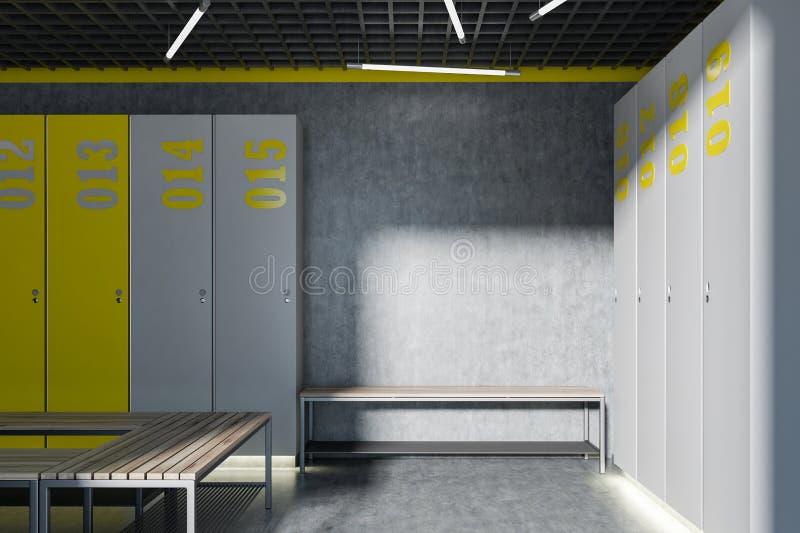 灰色和黄色更衣室内部,长凳 皇族释放例证