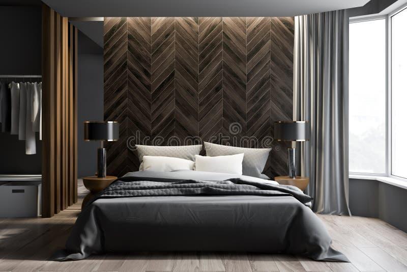 灰色和黑暗的木卧室内部,衣橱 库存例证