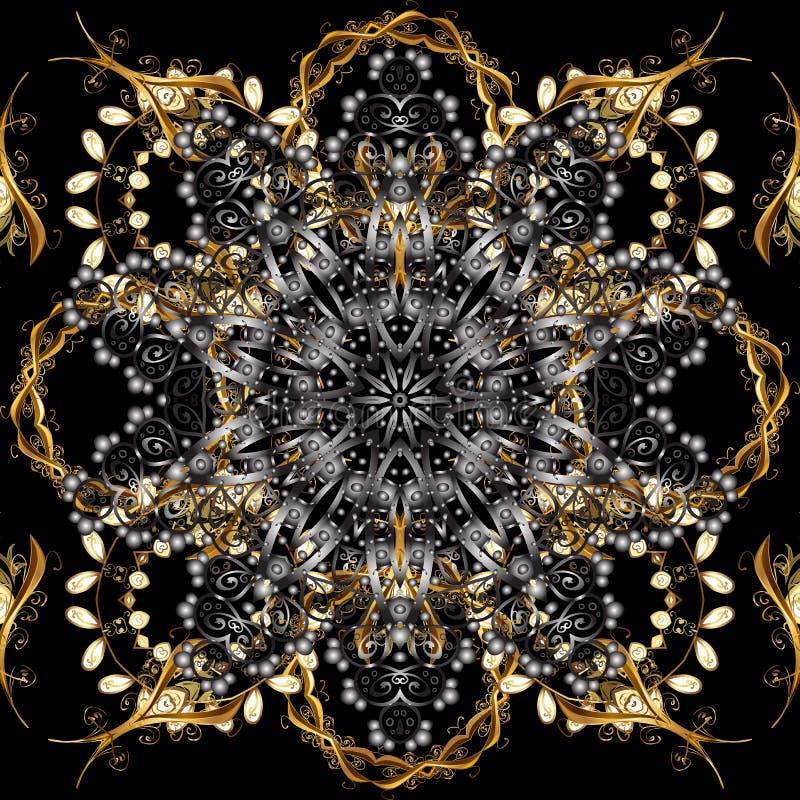 灰色和黑色与金黄元素 向量例证