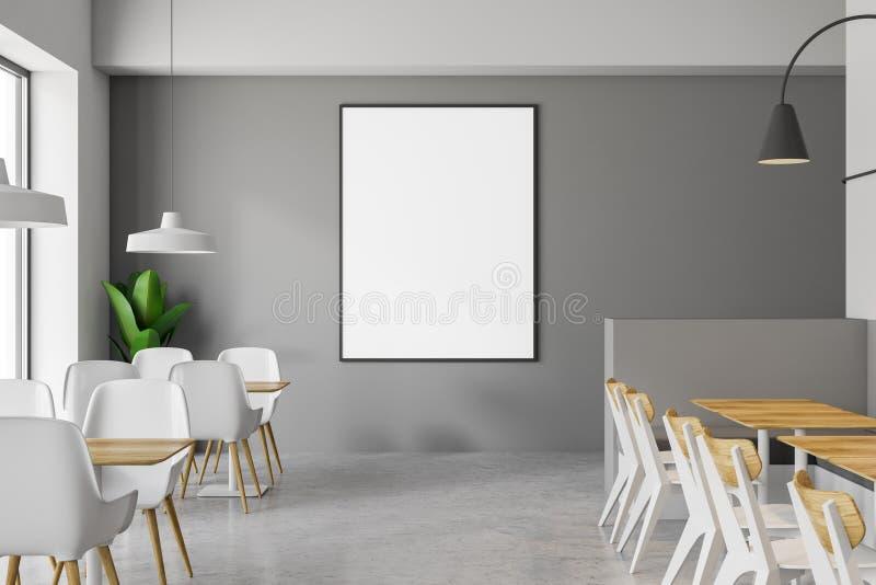 灰色咖啡馆沙发和海报关闭 向量例证