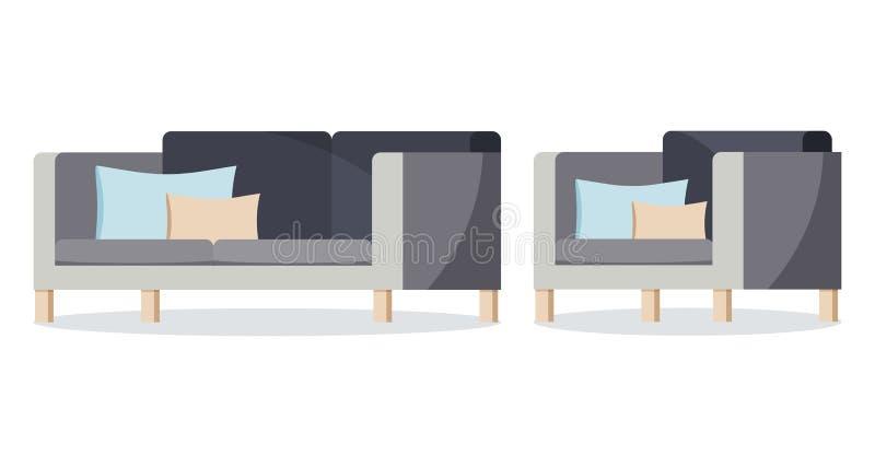 灰色在白色背景的颜色软的沙发和扶手椅子集合被隔绝的象与装饰坐垫 皇族释放例证