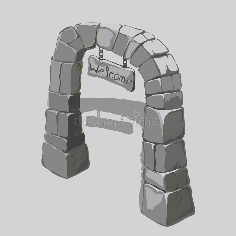 灰色块和可喜的迹象古老曲拱  库存例证