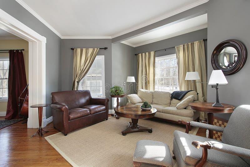 灰色客厅墙壁 免版税库存图片