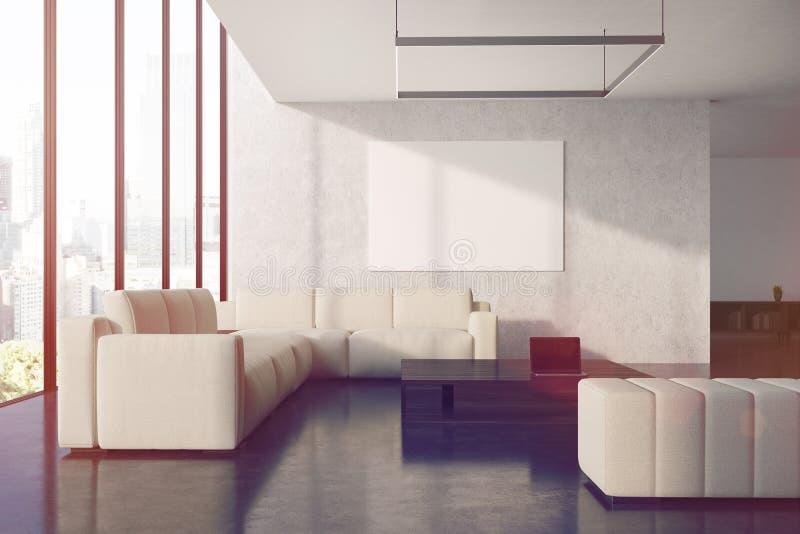 灰色客厅海报,沙发,被定调子 向量例证
