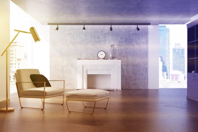灰色客厅,白色扶手椅子,被定调子的壁炉 向量例证