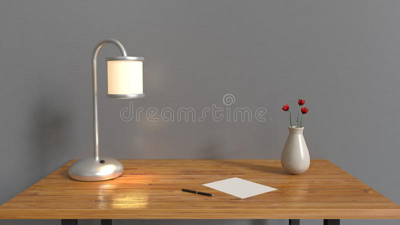 灰色室和木桌,灯笔有红色花的白纸花瓶在桌内部3d回报 向量例证