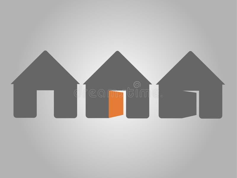 灰色家庭象,家,房子,门 库存图片