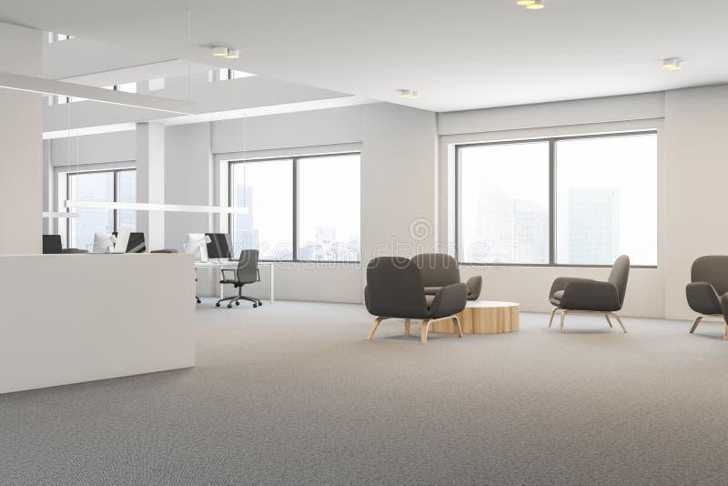 灰色扶手椅子办公室休息室,招待会 向量例证