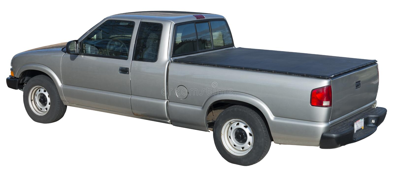 灰色拾起卡车,查出的车后有座部分盖子 库存图片