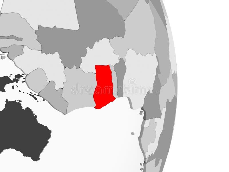 灰色政治地球的加纳 向量例证