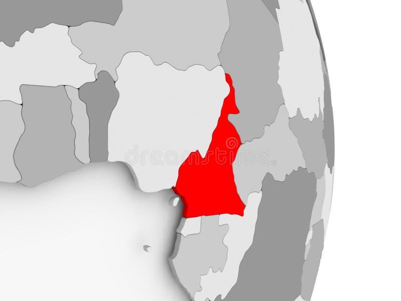灰色政治地球的喀麦隆 向量例证