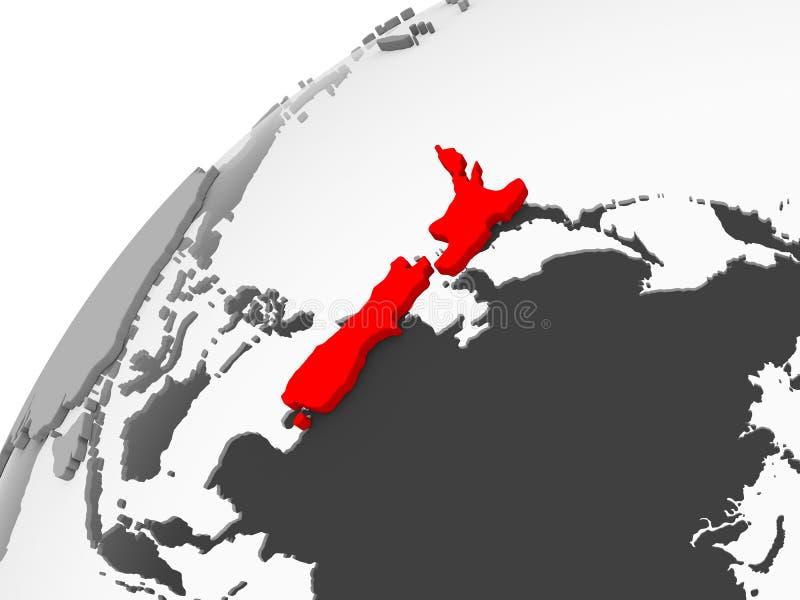 灰色政治地球的新西兰 库存例证