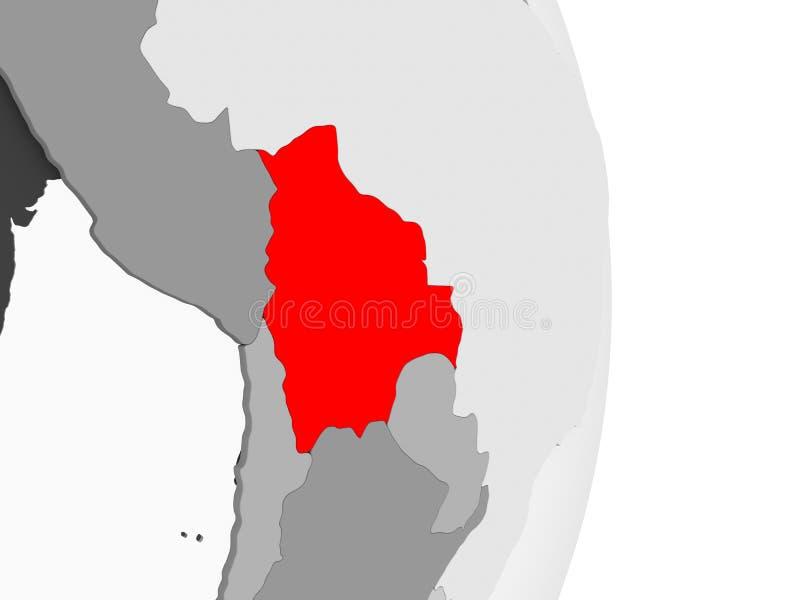 灰色政治地球的玻利维亚 库存例证