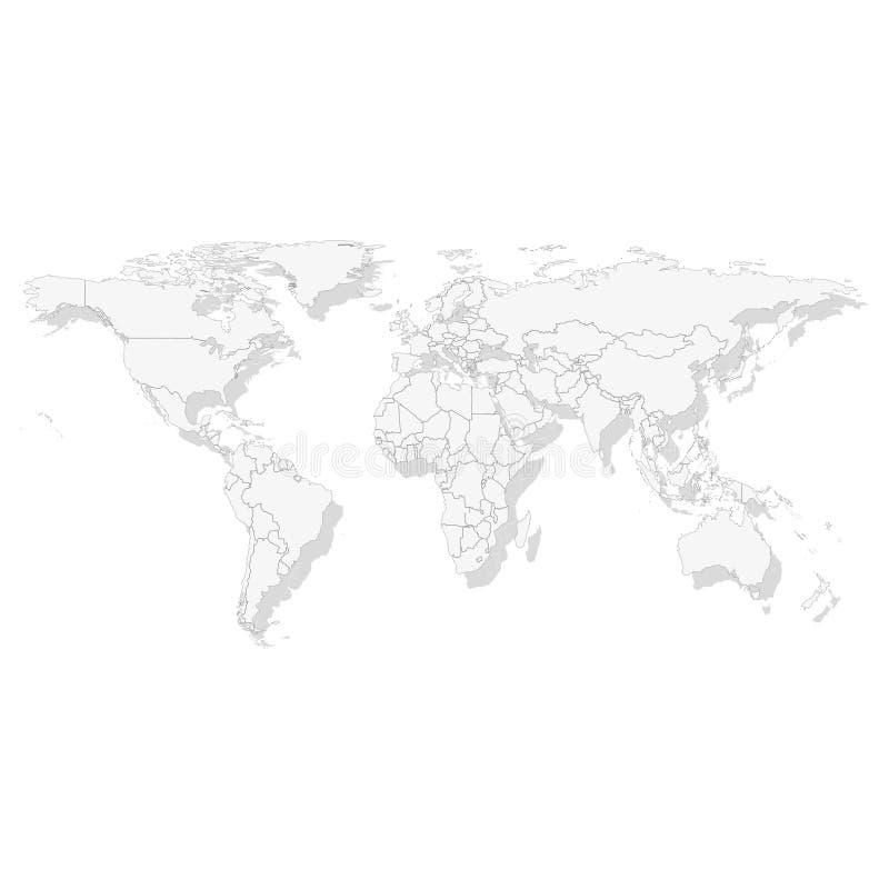 灰色政治世界地图传染媒介 库存例证