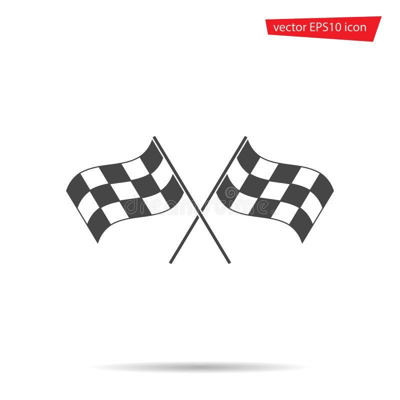 灰色方格的旗子象 现代的摩托车越野赛,简单,平的标志 体育,互联网发怒概念 时髦 皇族释放例证