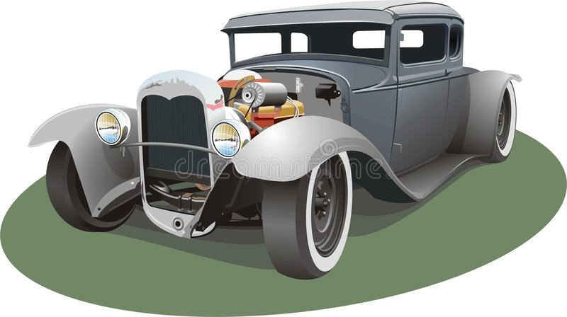 灰色旧车改装的高速马力汽车 向量例证