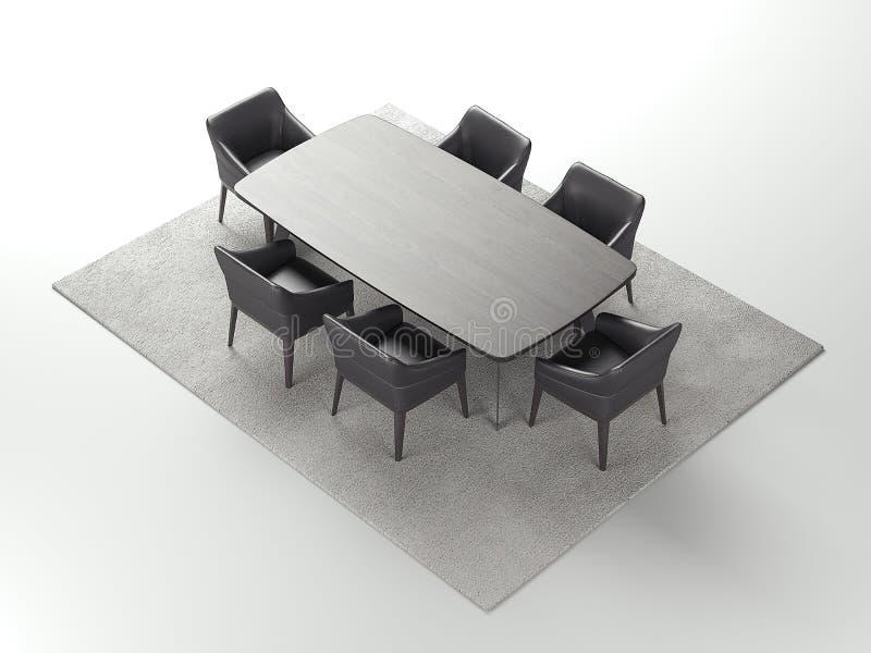 灰色木桌和黑椅子在浅灰色的地毯, 3d翻译 库存例证
