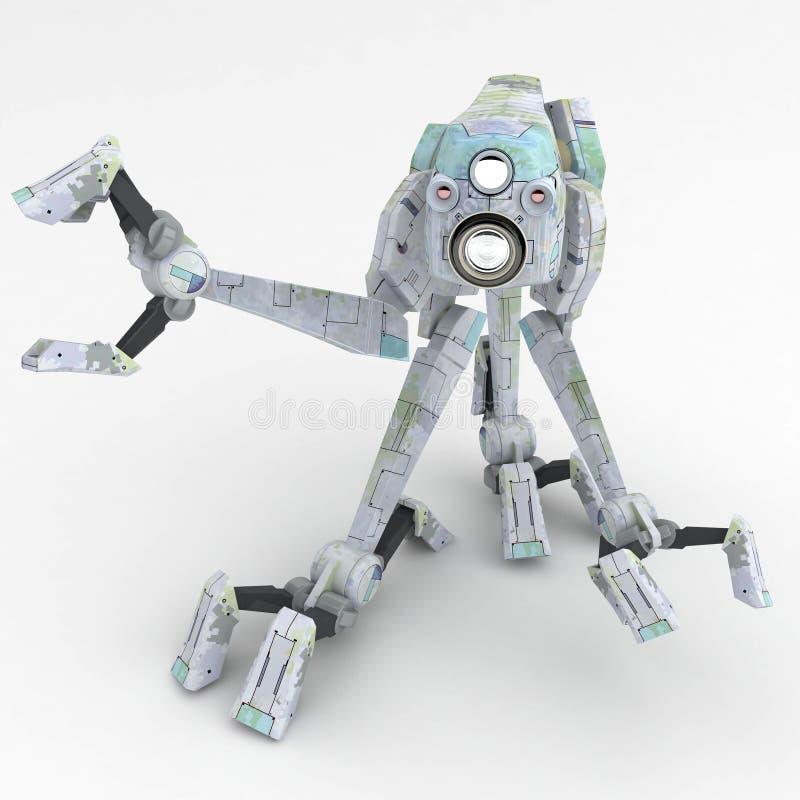 灰色机器人步行者 向量例证