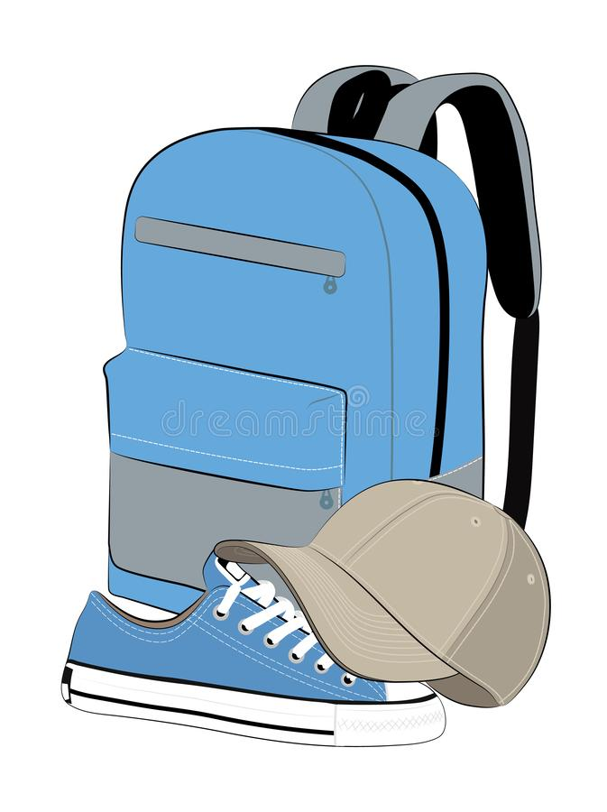 灰色棒球帽、蓝色运动鞋和蓝色背包 向量例证