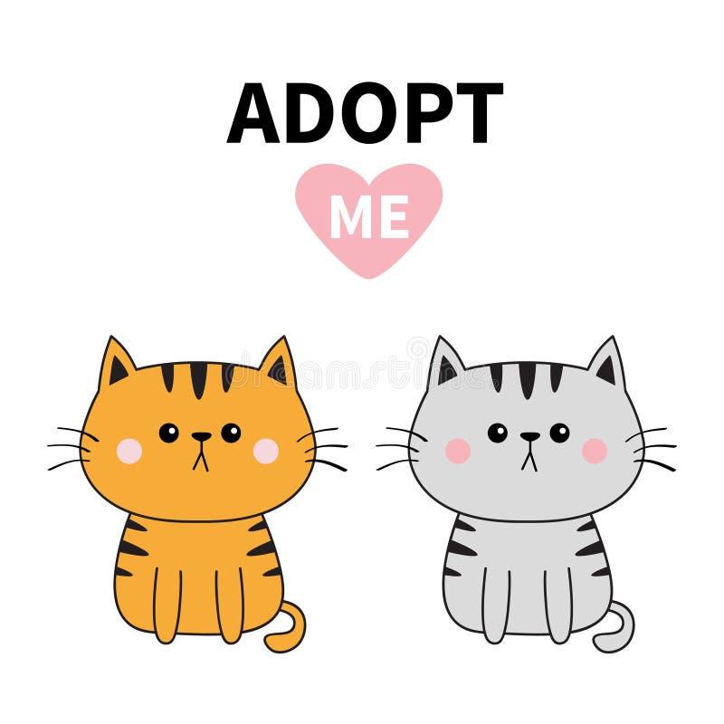 灰色橙色猫剪影 采取我 桃红色重点 宠物收养 Kawaii动物 逗人喜爱的动画片全部赌注字符 滑稽的小小猫 他 皇族释放例证