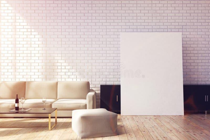灰色沙发和海报,被定调子 库存例证