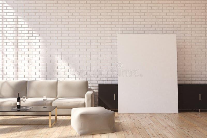 灰色沙发和海报 皇族释放例证