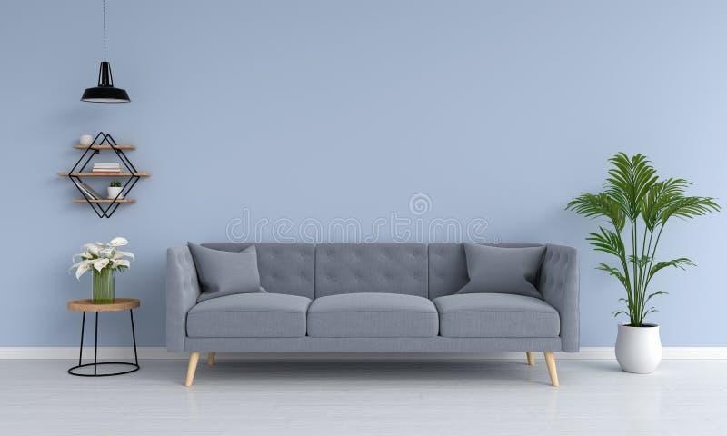 灰色沙发和舷梯,植物,桌,在客厅, 3D翻译 向量例证
