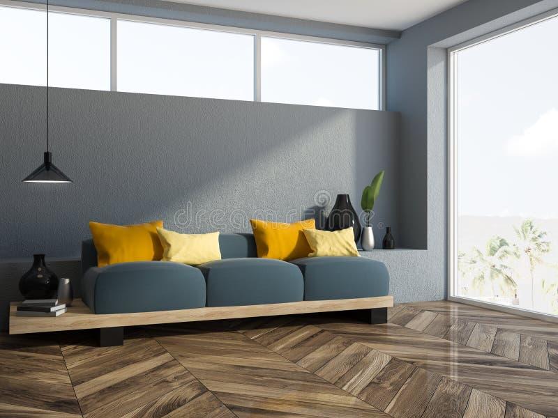 灰色沙发黄色缓冲客厅角落 皇族释放例证