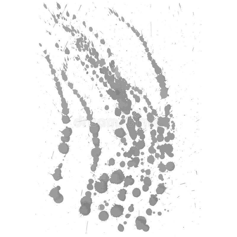 灰色油漆墨水飞溅,隔绝在白色背景 传染媒介Spla 库存例证