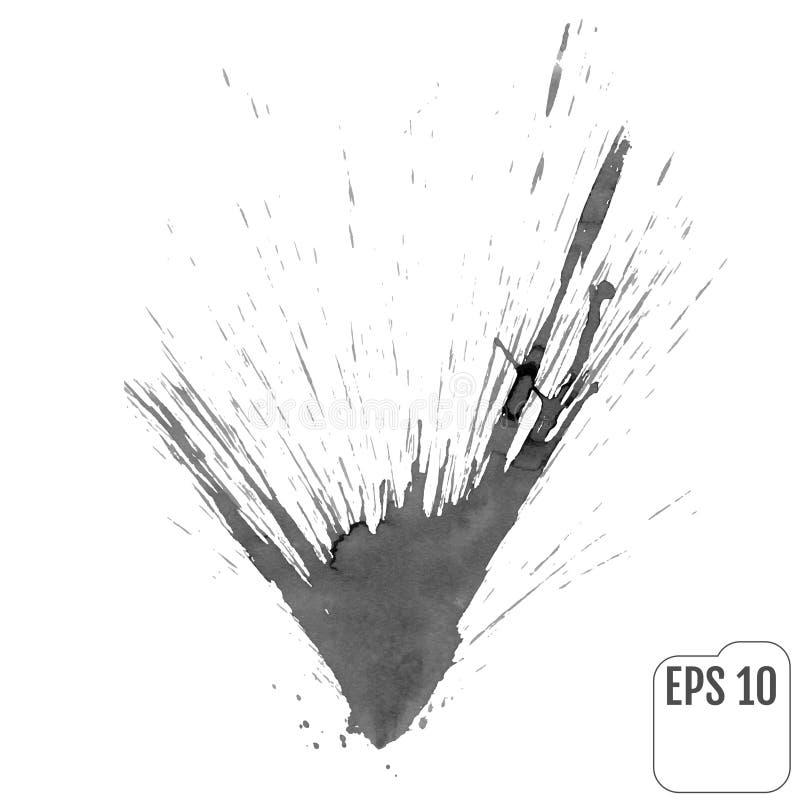 灰色油漆墨水飞溅,隔绝在白色背景 传染媒介Spla 皇族释放例证