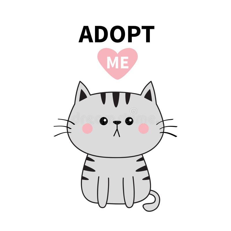 灰色猫剪影 采取我 桃红色重点 宠物收养 Kawaii动物 逗人喜爱的动画片全部赌注字符 滑稽的小小猫 帮助家 皇族释放例证