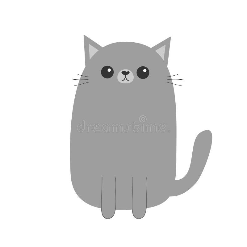 灰色猫小猫 逗人喜爱的漫画人物 Kawaii动物 与眼睛,髭,鼻子,耳朵的滑稽的面孔 爱贺卡 平的des 皇族释放例证