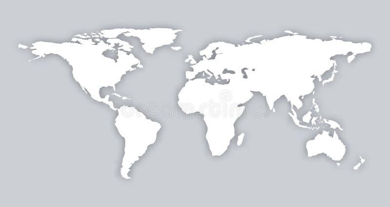 灰色相似的卡片材料世界地图空白平的模板对象eps infographic的艺术 与软的美洲河鲱的世界地图 皇族释放例证