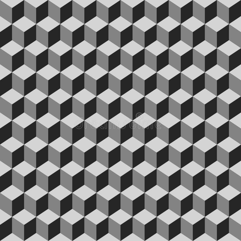 灰色立方体的无缝的样式 皇族释放例证