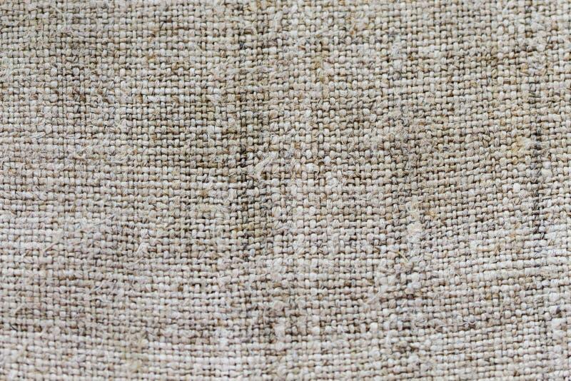 灰色粗麻布麻袋布纹理或背景和空的空间 库存照片