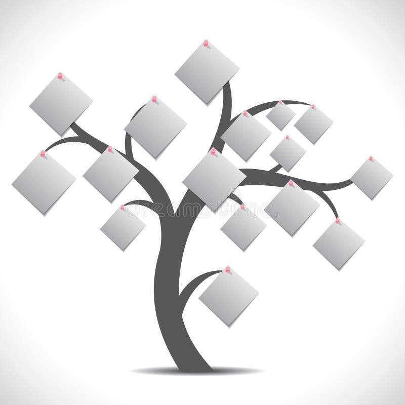 灰色纸附注结构树 库存例证