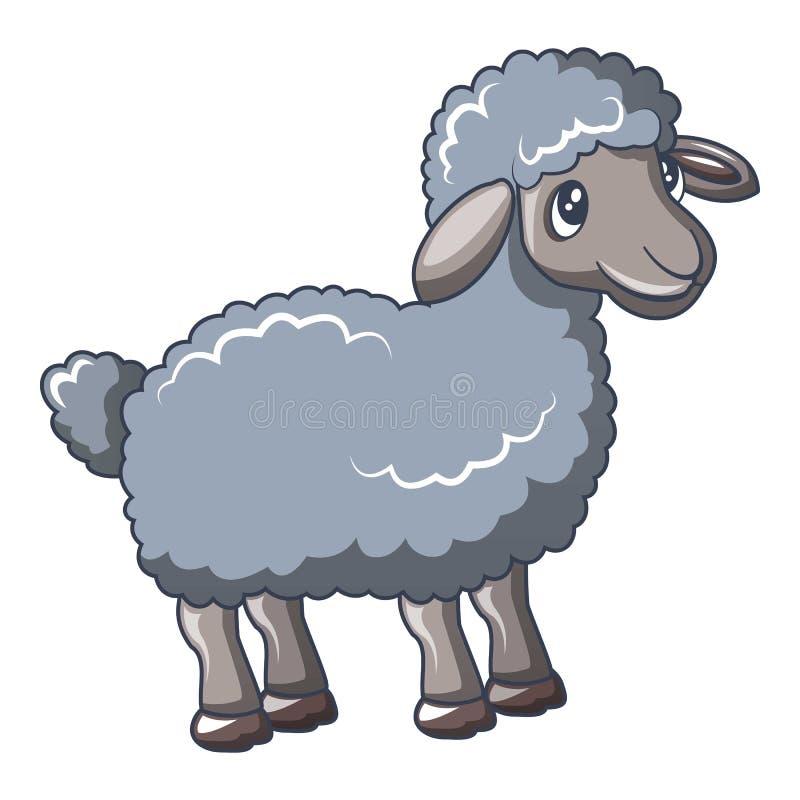灰色绵羊象,动画片样式 向量例证