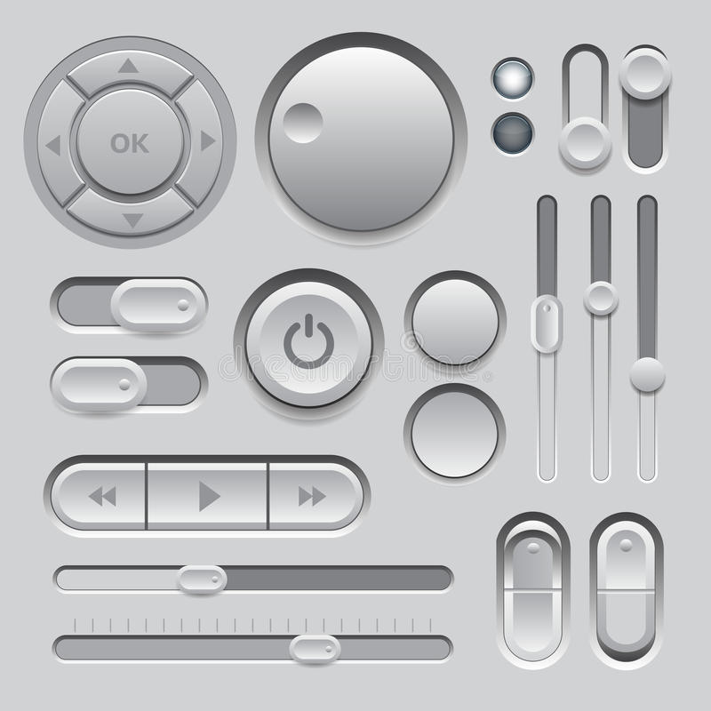 灰色网UI元素设计。 库存例证