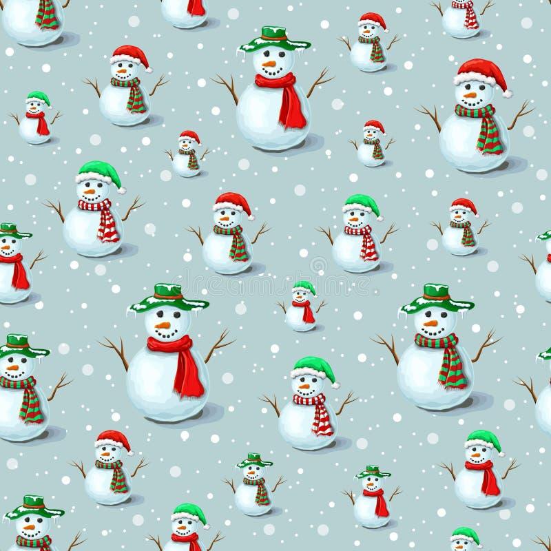 灰色背景上带雪花的无缝圣诞雪人图案 用于假日设计的可爱雪人背景模板 雪人 皇族释放例证