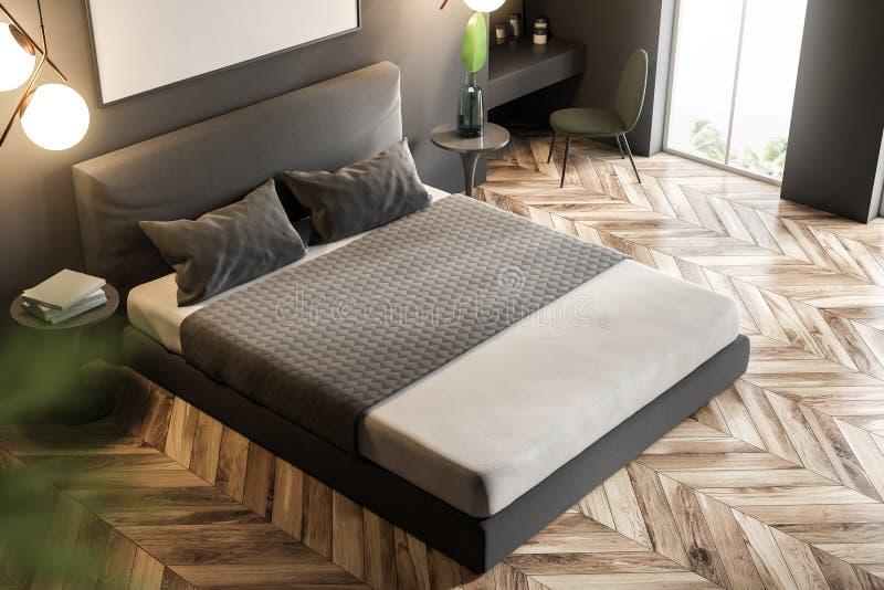 灰色自然样式卧室,顶视图 皇族释放例证