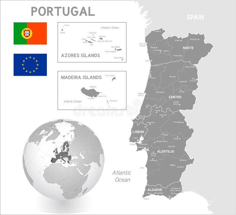 灰色葡萄牙的传染媒介政治地图 库存例证