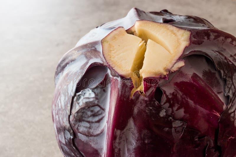 灰色表面上的整个红叶卷心菜 免版税库存照片