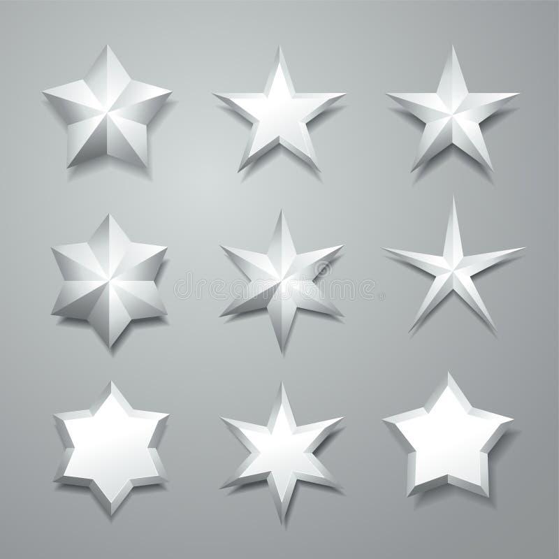 灰色被隔绝的3d星 库存例证