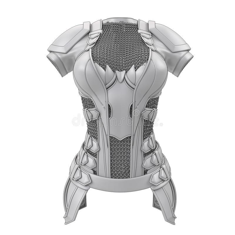 灰色装甲为在被隔绝的白色背景的动画片样式传统化了 3d例证 皇族释放例证