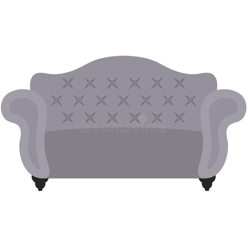 灰色装缨球沙发例证 皇族释放例证
